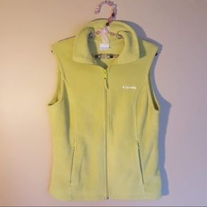 Columbia lime green fleece vest size medium